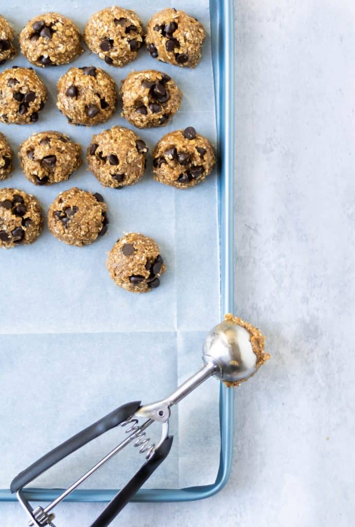 easy dessert recipe oatmeal chocolate chip scooped cookie dough