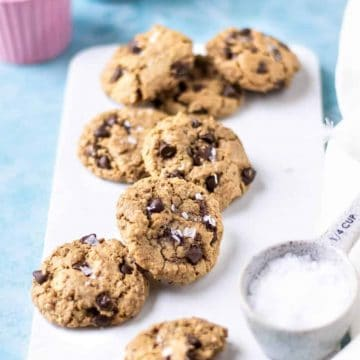 Oatmeal Chocolate chips on a white tray with maldon salt