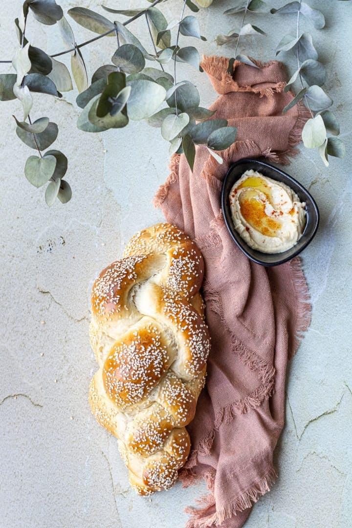challah with hummus