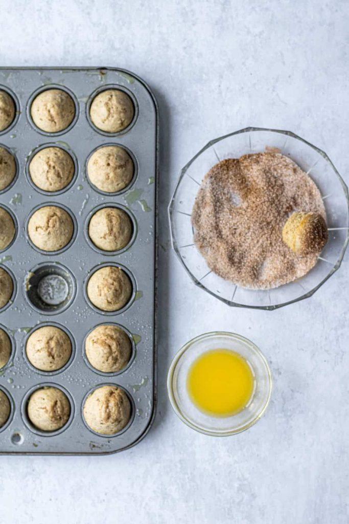 mini donut muffins in tin