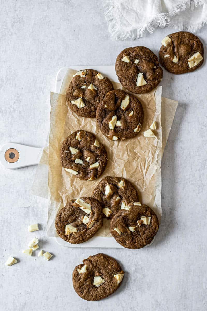 coffee cookies with white chocolate chunks