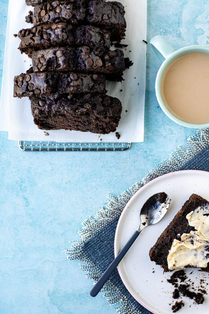 Chocolate banana bread with butter