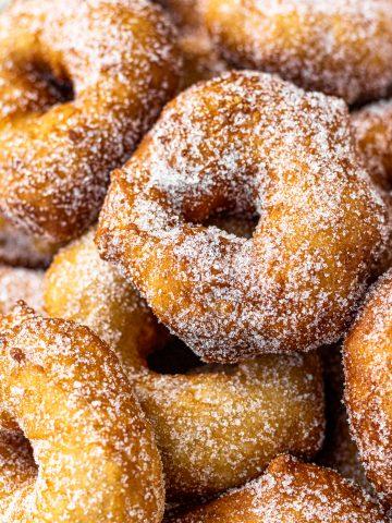 Close up of Binuelos - moroccan donuts.