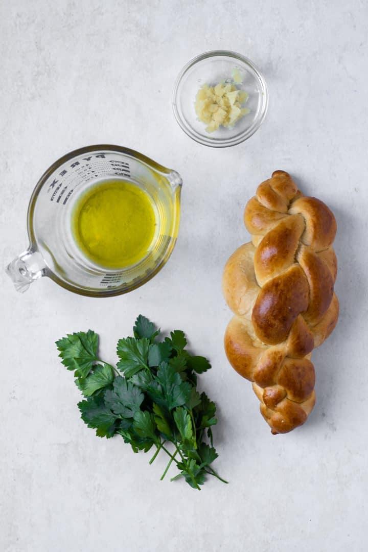 ingredients for garlic challah