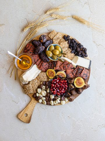 cheese board with dried fruit