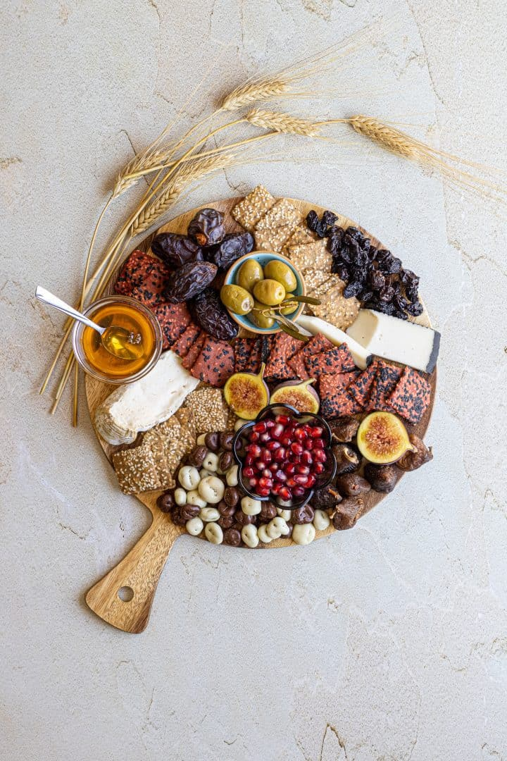 tu b'shvat cheese board with dried fruit