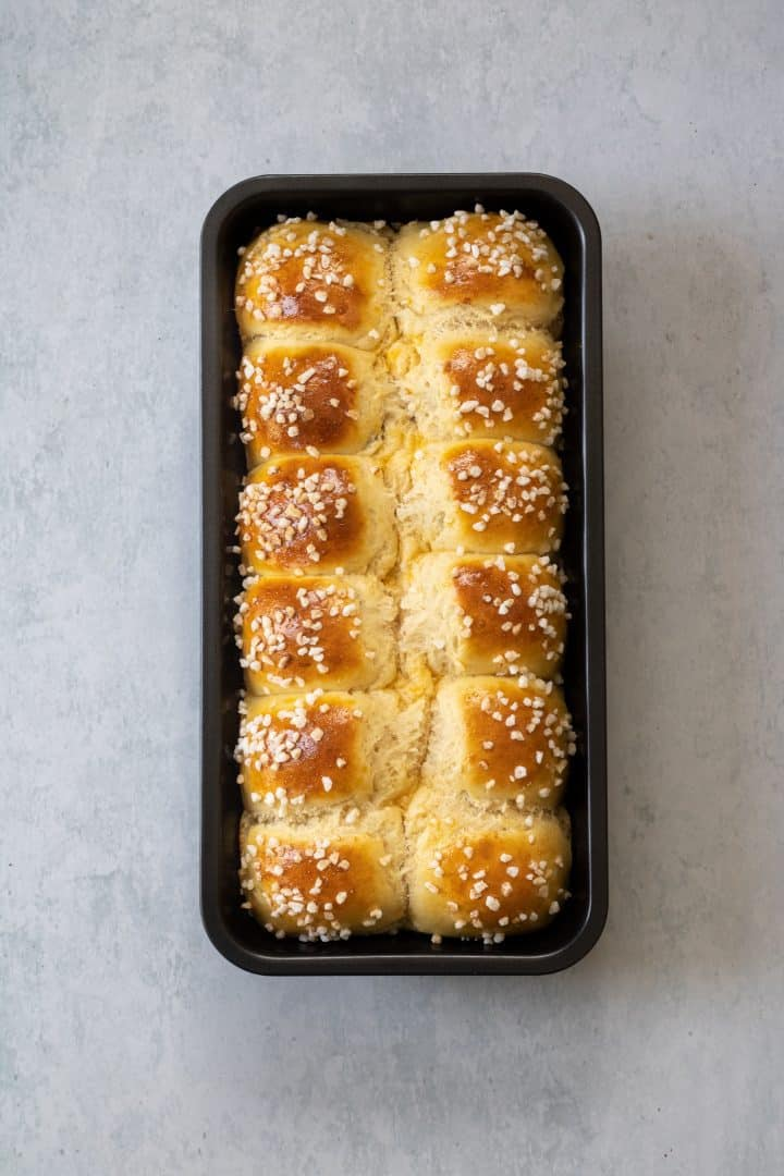 Chocolate rolls in loaf pan after baking