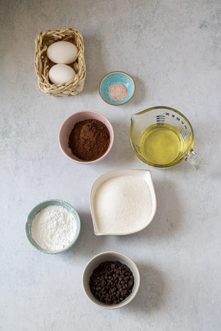 all the ingredients needed for flourless brownies recipe