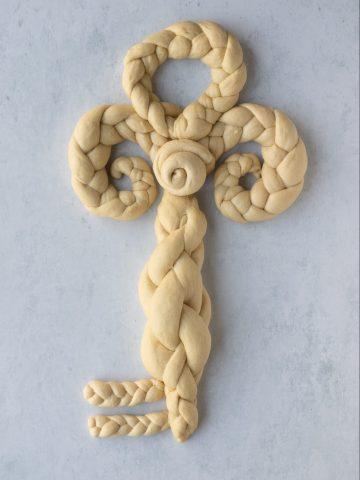 key shaped challah dough
