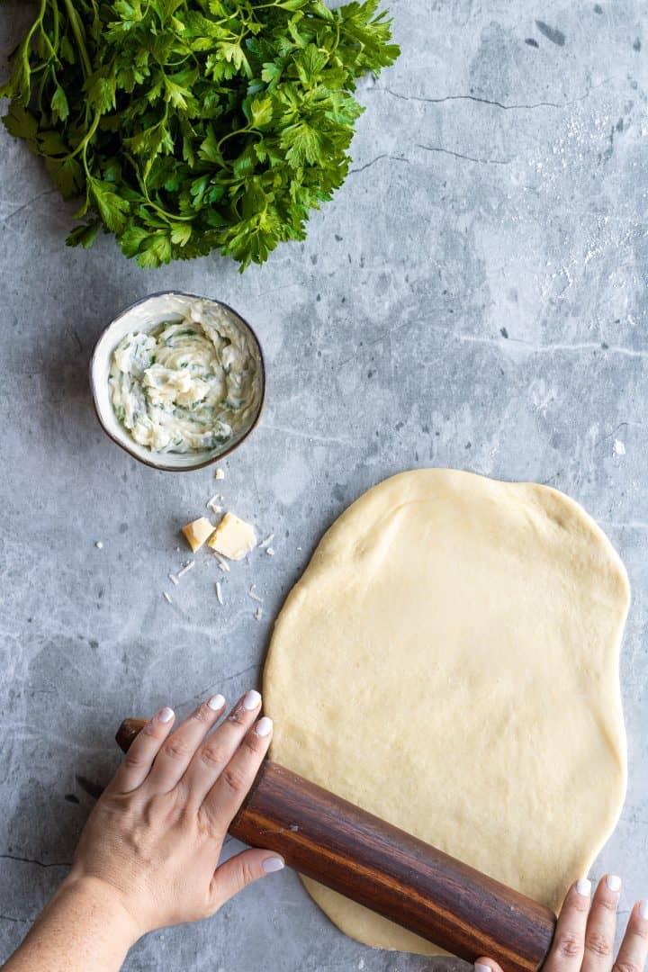 rolling dough for garlic rolls