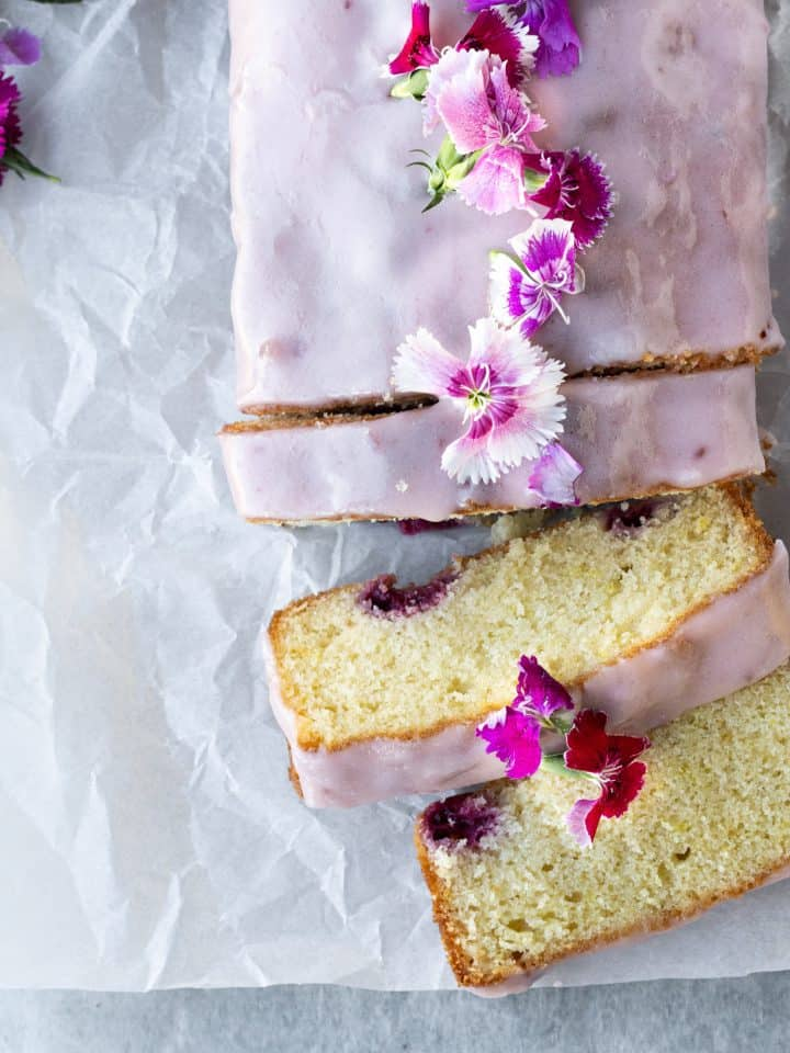 lemon loaf with edible flowers