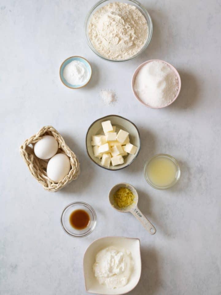 ingredients for lemon loaf