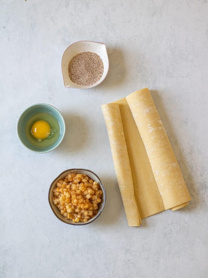 Ingredients for apple pie cookies laid out