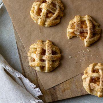 Apple pie cookies on wood board