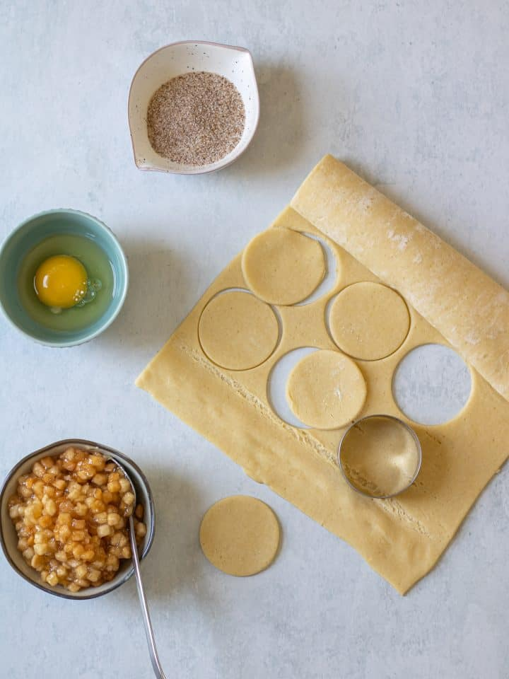Pie dough with circles cut out